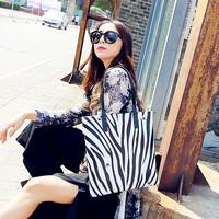 Cat bag 2014 black and white stripe fashion female lather-bag one shoulder handbag m51-022