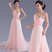 Free shipping 2014 Bride Train Evening Dress Formal Dress Tube Top Long Design Pink SH211