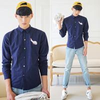 2014 new print cock men's cotton fashion shirts, boys' casual shirts, Size M/L/XL/XXL, 1305/C23/P60