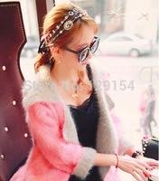 Boho Chic Fashion Hair Aaccessories Korean Vintage Rhinestone Pearl Silver Chain Leather Rope Headband Hair Jewelry