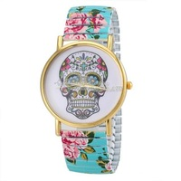 Freeshipping promotion skull face design flower printed plastic band geneva skull watches Quartz Watches