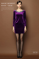 2014 winter new ladies OL professional women dress simple crystal beaded velvet dress round neck long-sleeved package hip