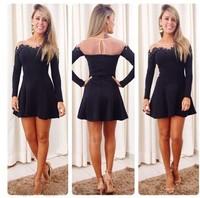 2014 free shipping black lace long sleeve casual mini dress women vestido Autumn dress
