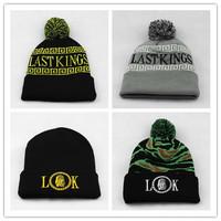 Newest Last king beanies caps LK skull classics mens women sports skullies beanie hats with ball black geen stripe Freeshipping