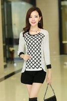 New 2014 women summer chiffon render blouse long-sleeve solid patchwork plaid shirts Korea fashion ladies sheer blouse loose 2XL