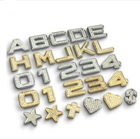 Crystal diamond car letter decoration stickers Car styling 3D effect metal digital letter car stickers personalized tail sticker
