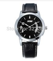 Skmei 9055 Unisex Leather Strap Quartz Dress Watch Fashion Luxury Skmei Brand 30M Waterproof Sports Dive Wrist watches 6colors