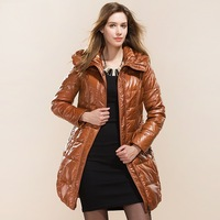 Women's Genuine Duck Down Coat Autumn & Winter 2014 Fashion Lady Slim Hooded Belted Jacket Jaqueta Outerwear Casaco Femininas
