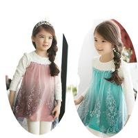 2014 new fall clothing snow Romance kids girls long-sleeve dress