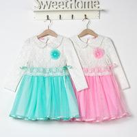2014 autumn children's clothing snow Romance gauze cotton lace dress new child princess dress free shipping