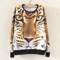 2014 new European and American women's autumn loose tiger print women hoody long-sleeve round neck sweatshirt