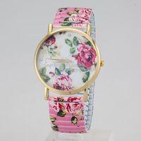 Freeshipping promotion Peony  design flower printed plastic band Peony Quartz watches,quartz movement without logo