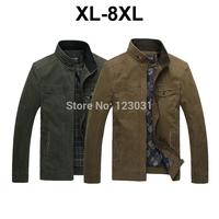 2014 Autumn Winter Men Cotton Stand Collar Jacket Homen Jaqueta Khaki and Army Green Plus Size XL-8XL