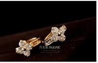 Korean small ear clip clover female ear ring zircon fashion bone fastener anti allergic ear clip earrings
