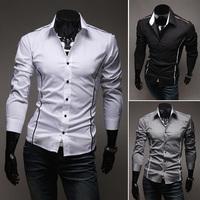New 2014 Casual Men Slim Fit Blouse Long Sleeve Single Breasted Thin Shirts, White, Black, Gray, M, L, XL, XXL, XXXL