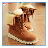 ENMAYER new 2015 fashion snow boots for women round toe Flat with Lace-up Warm fur knight boots free shipping short boots