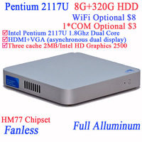 Mini itx fanless embedded industrial Intel Pentium 2117U Dual Core with Fanless Full Aluminum Ultra Thin Chassis 8G RAM 320G HDD