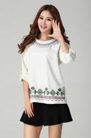 Fat Women Plus Size 2XL,3XL,4XL Vintage Embroidery Tshirt Big Size Beige Cotton Tops Free Shipping w2007