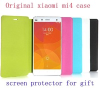 xiaomi mi4 flip case Smart Luxury Leather case cover for xiaomi M4 mi4 case +screen protectors for gift