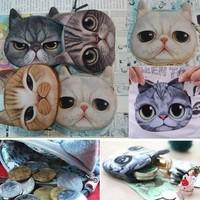 Women Cute Cat 3D Owl Purse Eyes Mini Coin Bags Zip Wallets Handbags Clutch