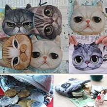 Mujeres de gato 3D búho monedero Ojos Mini monedas Bolsas Zip Carteras Bolsos Clutch(China (Mainland))