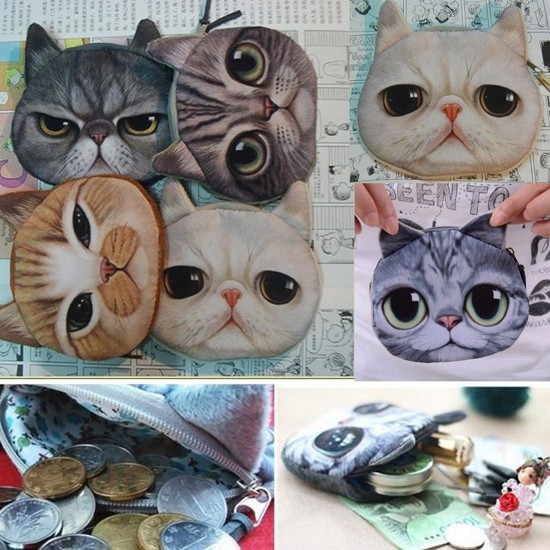 Women Cute Cat 3D Owl Purse Eyes Mini Coin Bags Zip Wallets Handbags Clutch(China (Mainland))