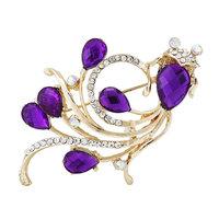 2014 New Elegant Korea Rhinestones Acrylic Purple Golden Fish Women Brooches Pins,Wedding dress Pins Mix.$10 Free shipping,