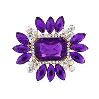 2014 New Elegant Korea Rhinestones Acrylic Purple & Blue Flower Women Brooches Pins,Wedding dress Pins Mix.$10 Free shipping,
