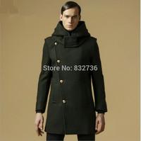 FREE SHIPPING winter New 2014  designer Brand Men Wool Trench hooded Coat warm Overcoat Outerwear Slim Pea Coat Men