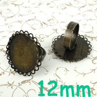 (60 pieces/lot) 12mm Antique Bronze tone Round Double Lace Bezel tray Cabochon Blank Bases Retro Rings Settings Wholesale