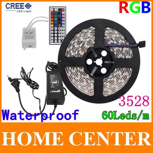 Waterproof 5M 3528 RGB 300Leds Led Strips light and 44Key IR Controller and 12V 3A Power supply 60Leds/m EU US AU UK(China (Mainland))