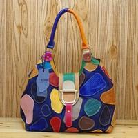 Vintage Design Womens Cow Leather Jeans Tote Handbag Shoulder Bag Crossbody Messenger Bags Satchel K550