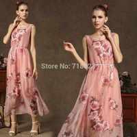 High-end custom 2014 Hot-selling tencel chiffon elegant vest full dress one-piece dress rose pale pink skirt