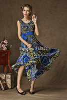 Hot Sale Printed Chiffon O-neck Sleeveless Tank Long Dresses Girls Beach Holiday Size S-XL