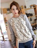 2014 new fashion trend girlfriends sweater female body decoration wild flowers round neck t-shirt lace shirt t-shirt