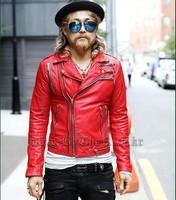 2014 men's punk style leather jacket outerwear men slim short leather jacket coat