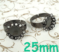 (60 pieces/lot) 25mm New Gunmetal Black tone Round Double Lace Bezel tray Cabochon Blank Bases Retro Rings Settings Wholesale