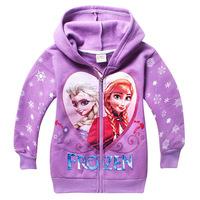 with fleece  frozen girls hoodies long sleeve frozen princess children sweatshirts,fashion 2014 baby kids outerwear jacket coat