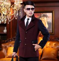 2014 winter male wool coat medium-long outerwear fashion slim woolen overcoat woolen coat male man jacket