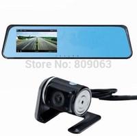 "Dual Camera Car Rearviw Mirror DVR Full HD 1080P 4.3"" With External Rear Lens+Super Night Vision+Allwinner Chip+Park Monitoring"