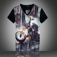 [Magic] V-neck t-shirts men's cultivate one's morality Motorcycle T-shirt spoof personality 3 d printing short sleeve T-shirt