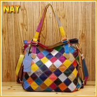 New Women's Genuine Leather Shoulder Tote Messenger Colorful Bags Cowhide Plaid Patchwork Handbag K460