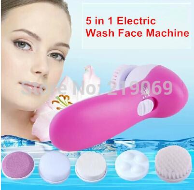 livre shipping+new 5 em 1 elétricos de lavagem máquina face poros facial corpo limpador limpeza massagem mini-pele massager da beleza escova(China (Mainland))