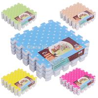 free shipping 4pcs/lot 30*30*1.5cm Colorful Dot Foam Puzzle Mat Sponge Eco-friendly  Mat for Babies &Children