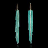 High-end  Long Pendant Shape Chain Tassels Earrings Crystal Drop Earrings Dangle Earrings For Women Trendy Handmade Jewelry
