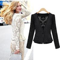 Free Shipping 2014 New Spring Autumn Women's Coat V -neck Collar Lace Black One Button Slim Suit Jacket Blazer Coat