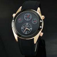 2014 New Curren Brand Men Sports Black Silicone Watch Fashion Casual Rose Gold Quartz Wristwatches 8141