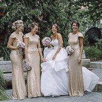 Free shipping mermaid bridesmaid dresses! Simple jewel short sleeves shiny sequin gown custom made elegant nude bridesmaid dress