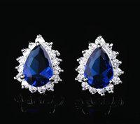 Brand new fashion Classic design Cubic zircon tear shape Luxury jewelry earrings 3 color option