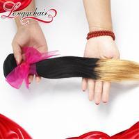 Longqi Beauty Hair 3PCS Lot Filipino Virgin Hair Straight Human Hair Weaves 1B/27 Two Tone Color Ombre Hair Extensions